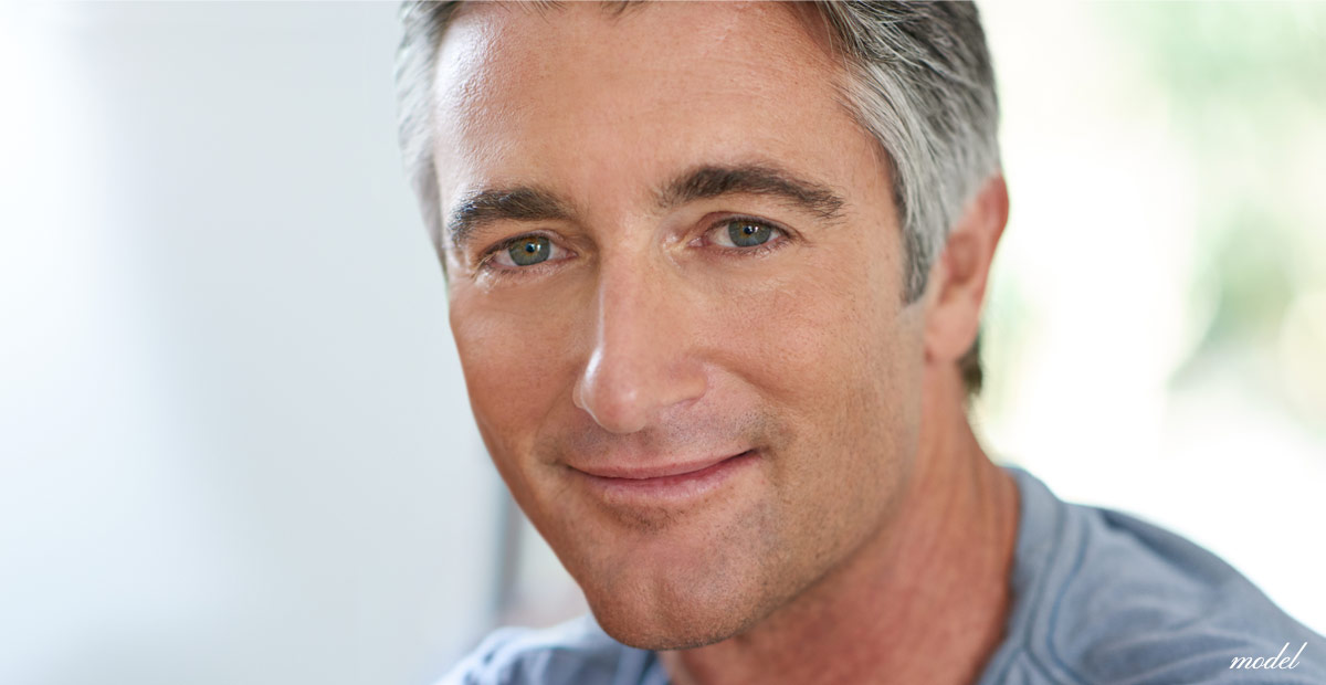 Mature man with a youthful wrinkle free appearance. (Model)